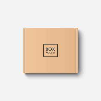 Top view cardboard box mockup isolated on white background