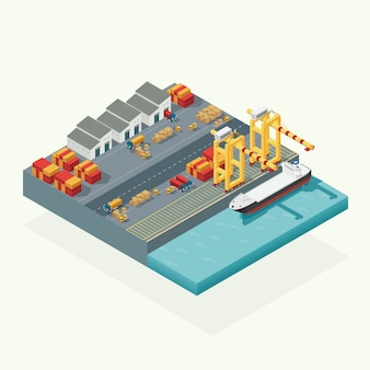 Top view cargo logistics and transportation container ship with working crane import export transport industry in shipping yard. isometric illustration vector