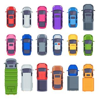 상위 뷰 자동차. 자동 운송, 트럭 및 자동차 지붕. 도시 교통 그림 세트