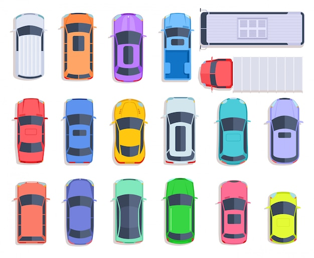 Top view cars. auto transport, truck and car roof of vehicle transport.