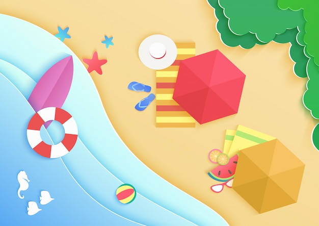 Top view cartoon ocean sea beach background with umbrellas, swim donuts ring, sunglasses, surfboard, hat and starfish. travel vacation concept banner.