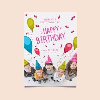 Top view children with party hats invitation