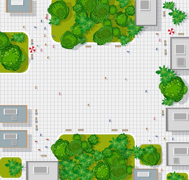 Top view of the city. background town map