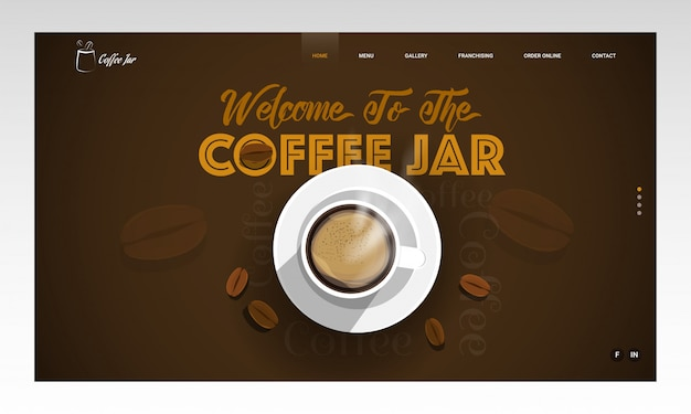 Top view of coffee cup and beans decorated on brown  with given message as welcome to the coffee jar. landing page .