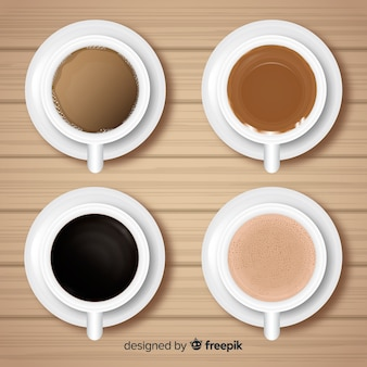 Top view of coffee cup collection with realistic design