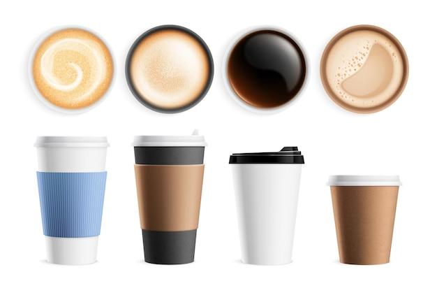 トップビューのコーヒーカップ。孤立した温かい朝食用飲料、ラテエスプレッソカプチーノ。リアルなマグカップ正面図、ミルクフォームドリンクベクトルセット。朝食、マグカップ、カップ飲料のイラストにホットエスプレッソ