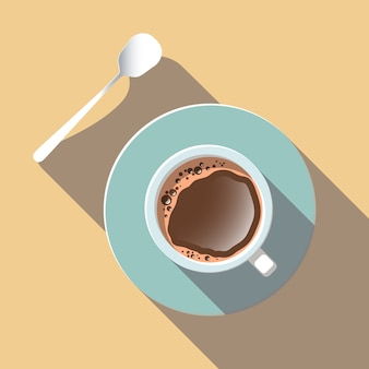 Top view of coffee cup on vector flat design.