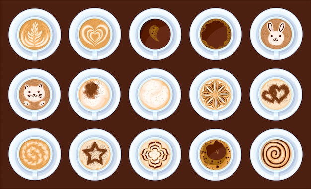 Top view of coffee isolated cartoon set icon. cartoon set icon cup cappuccino. illustration top view of coffee on white background.