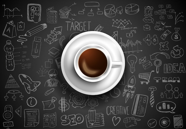 Top view of coffee on table with infographic sketches