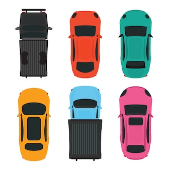 Top view of colorful different car on white background.