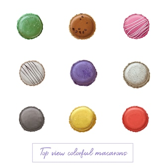 Top view colorful hand drawn macarons