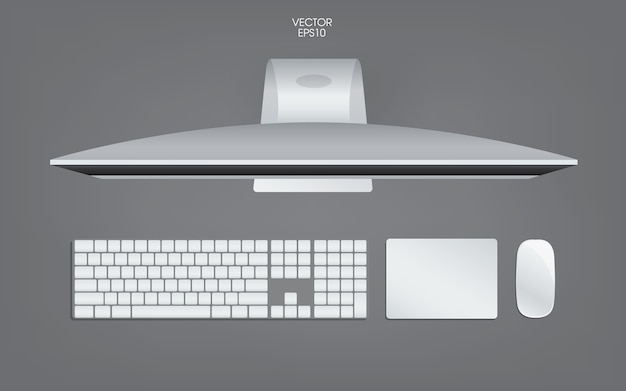 Top view of computer illustration