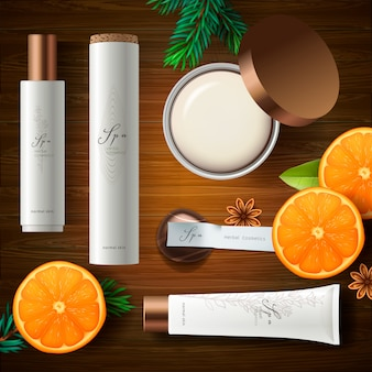 Top view of cosmetic products with ingredient plants, wood background, .