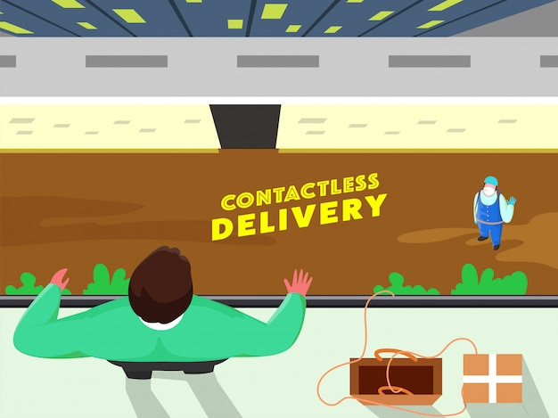 Top view of courier delivery boy talking to customer man standing at roof for contactless delivery concept. stop coronavirus.