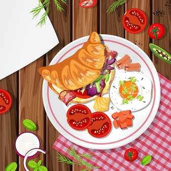 Top view of croissant with food element on the table