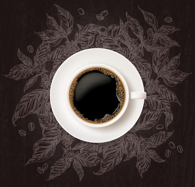 Top view of cup of coffee with sketch coffee tree branches on chalkboard background