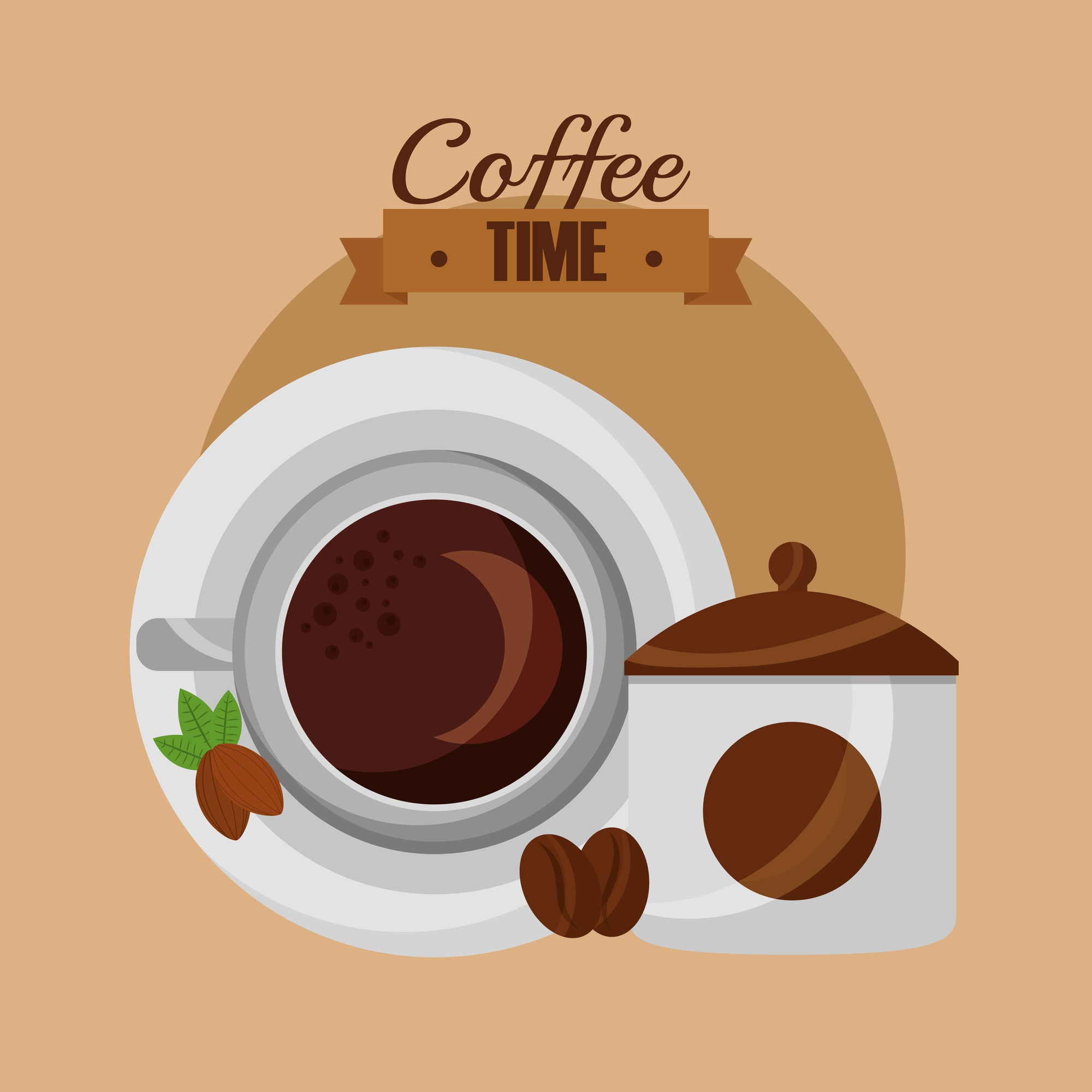 Top view cup seeds product coffee time vector illustration