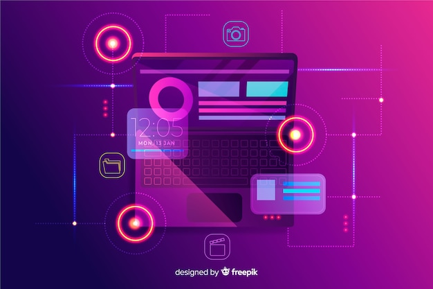 Top view dark laptop background template