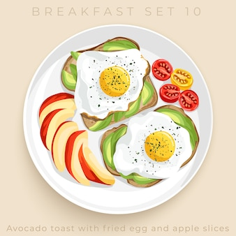 Top view of delicious breakfast set isolated on beige background :  illustration