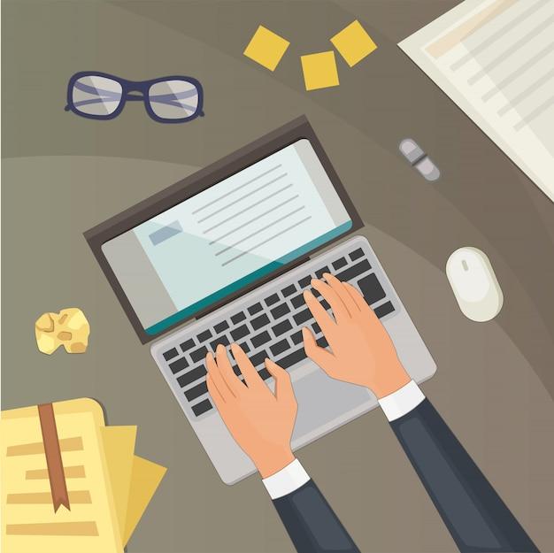 Top view on desk concept . blogging illustration laptop and hands.
