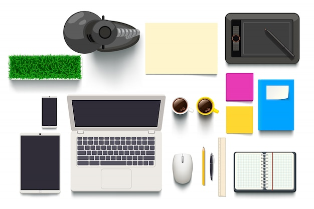 Top view on desk objects