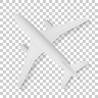Top view of a detailed airplane, gray plane on a transparent background. vector illustration.