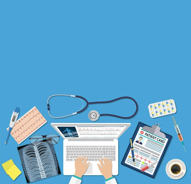 Top view of doctor workplace, medical equipment