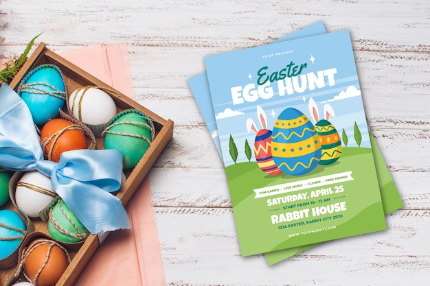 Top view easter party poster and basket with eggs