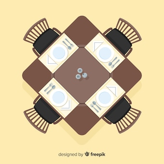 Top view of elegant restaurant table with flat design