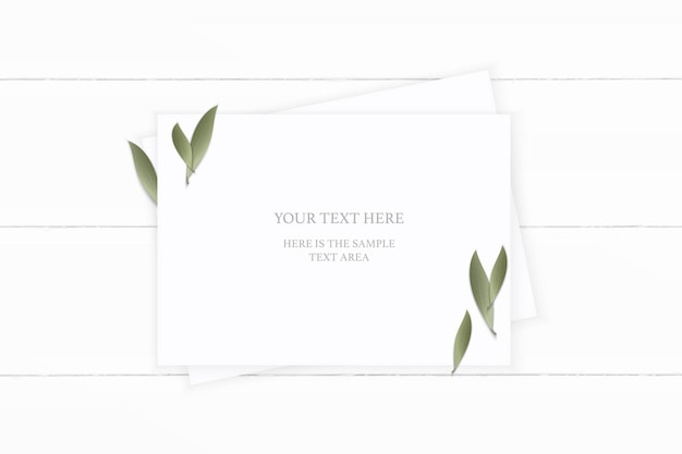 Top view elegant white composition paper nature leaf on wooden background.