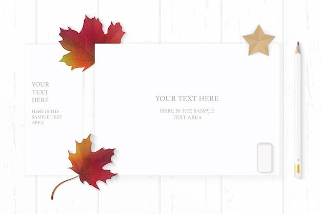 상위 뷰 우아한 흰색 구성 종이 연필 지우개가 단풍 잎과 나무 배경에 별 모양 공예.