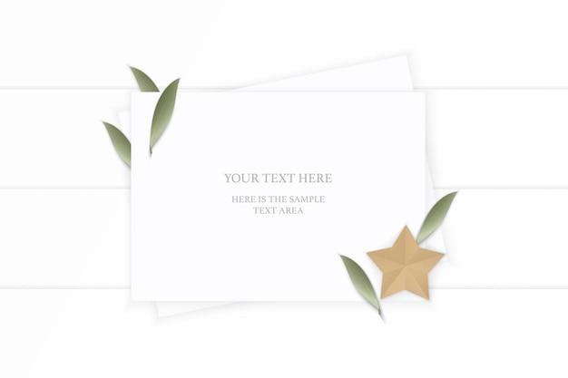 平面図エレガントな白い構成紙植物の葉と木製の背景に星形の工芸品。