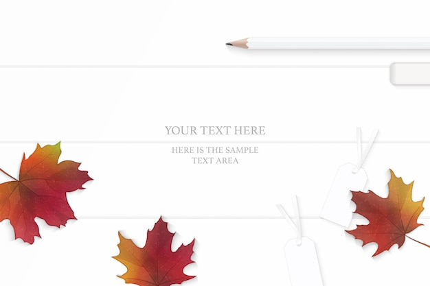 Top view elegant white composition yellow pencils eraser and autumn maple leaf on wooden floor background.