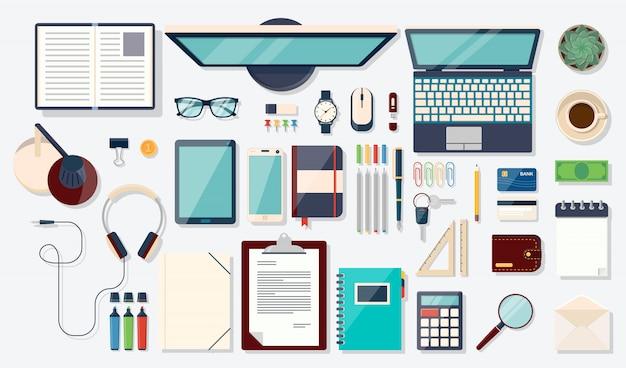 상위 뷰 요소. 노트북, 디지털 장치, 사무용 물건, 책 및 문서와 책상 배경