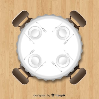 Top view of empty restaurant table with realistic design