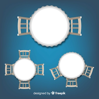 Top view of empty restaurant tables with realistic design