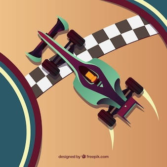 Top view of f1 racing car crosses finish line