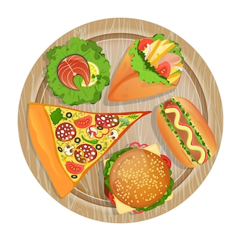 Top view fast food set on wooden board