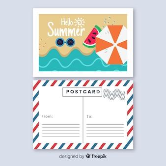 トップビューフラットビーチ海岸夏ポストカード