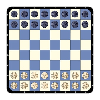 Top view flat checkers chessboard