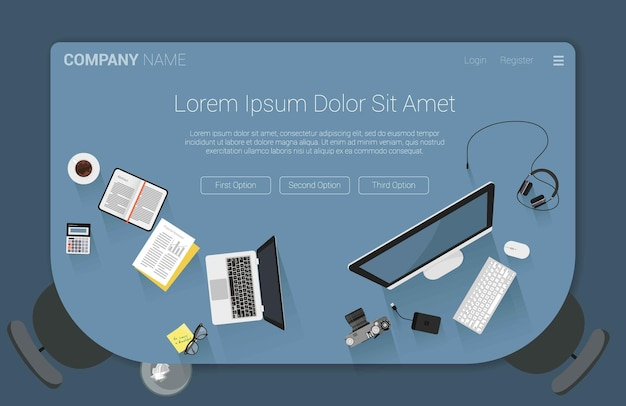 Top view flat design creative workspace concept for web design landing page