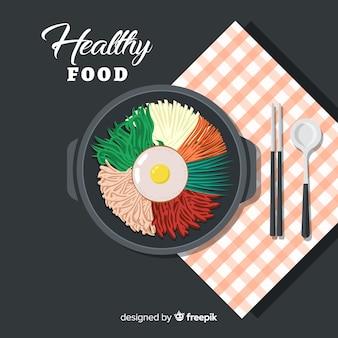 상위 뷰 평면 음식 배경