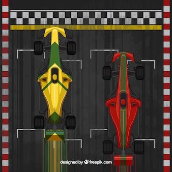 Top view of flat formula 1 car at finish line