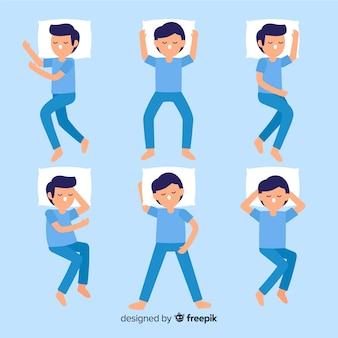 Top view flat person sleep position pack