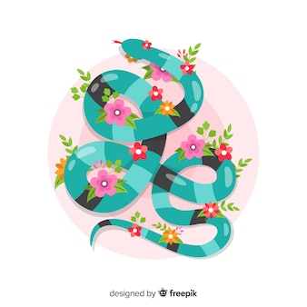 Serpente piatto vista dall'alto con sfondo di fiori