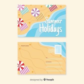 トップビュー平らな夏の海岸のポストカード