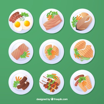Vista dall'alto di piatti di cibo con design piatto