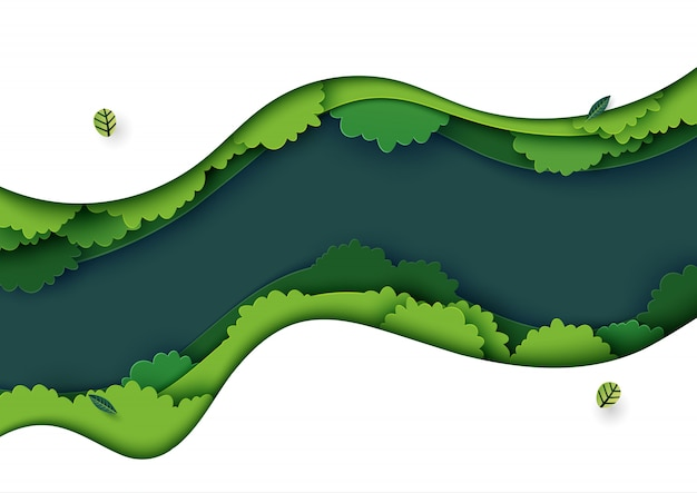 Nature landscape and ecology concept paper art style Vector