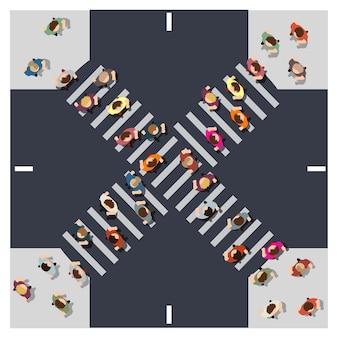 通りの交差点の上からの上面図