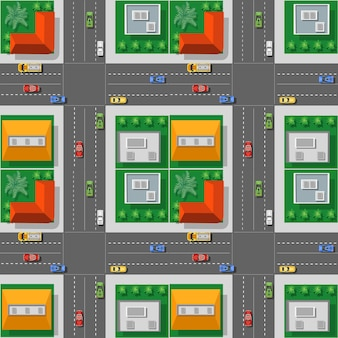 The top view from traffic, transport, transportation is a map of the city block streets with town infrastructure, roads, trees, parks, and gardens.
